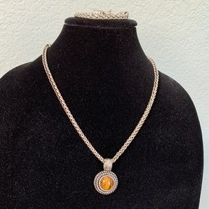 Premier Designs Silvertone Tiger-eye Pendant Set